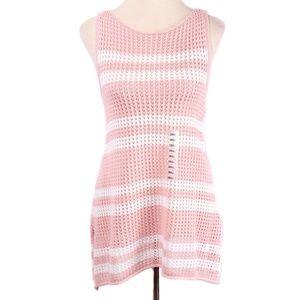 Jeanne Pierre Pink & White Stripe Knit Tunic Tank